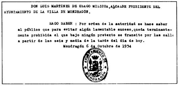 Revolución de octubre de 1934. Bando del alcalde de Arrasate/Mondragón (Gipuzkoa) tras el asesinato de Marcelino Oreja Elósegui