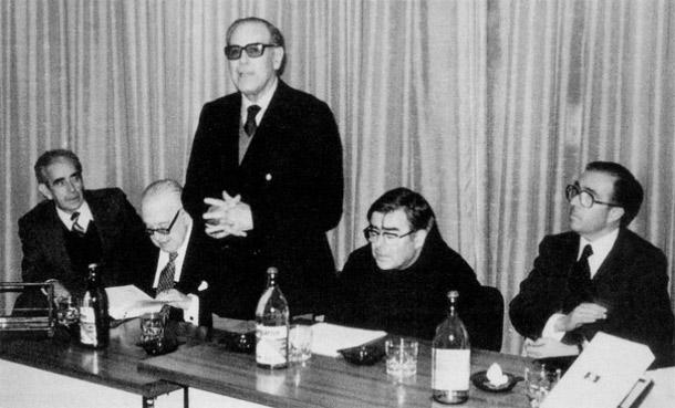 Koldo Mitxelena, Pedro Saiz, Antonio Tovar Llorente, Luis Villasante, Marcelino Oreja