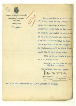 Documento con el membrete del campo de concentración